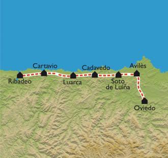 Carte D'Oviedo à Ribadeo, par le Camino Norte