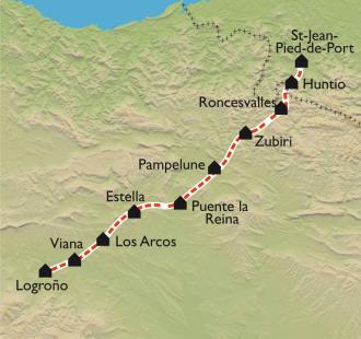 Carte De St Jean Pied de Port à Logroño, à petits pas