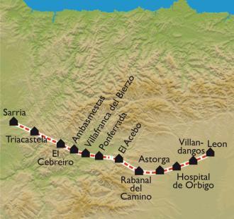 Carte De León à Sarria « à petits pas »