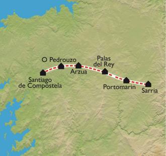 Carte De Sarria à Santiago, à petits pas