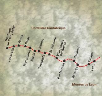 Carte De León à Santiago