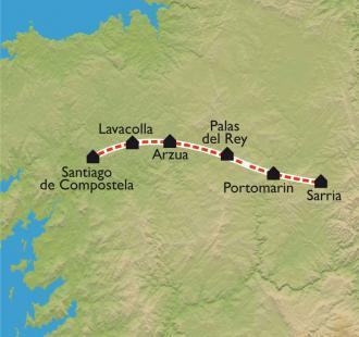 Carte De Sarria à Santiago