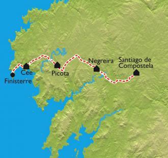 Carte De Santiago à Finisterre
