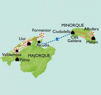 Carte Baléares, Majorque et Minorque