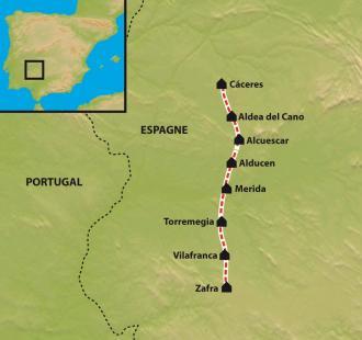 Carte De Séville à Compostelle par la Via de la Plata. De Zafra  à Caceres