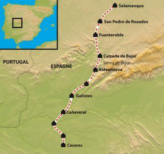 Carte De Séville à Compostelle par la Via de la Plata. De Càceres  à Salamanca