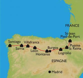 Carte De St Jean Pied de Port à Santiago, en vélo