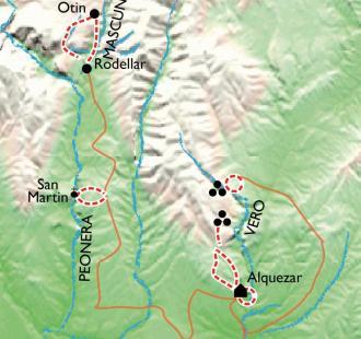 Carte Alquezar, randonnées au cœur de la Sierra de Guara