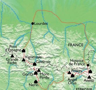Carte De l'Aneto au Vignemale, les plus beaux 3000 des Pyrénées