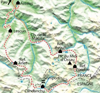 Carte Tour du Pic du Midi d'Ossau, pays des lacs et des bergers