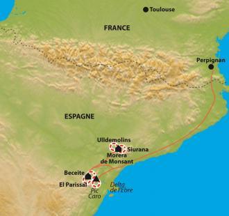 Carte De Beceite au Delta de l'Ebre, des sierras aragonaises à la mer