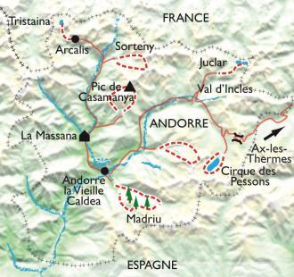 Carte Lacs d'Andorre et Bien-être à Caldea