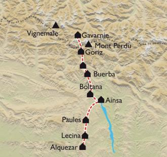 Carte De Gavarnie à la Sierra de Guara, de la haute-montagne aux champs d'oliviers
