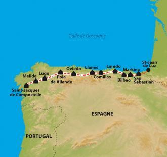 Carte Camino del Norte de San Sebastian à Santiago, à pied-bus par la côte Cantabrique