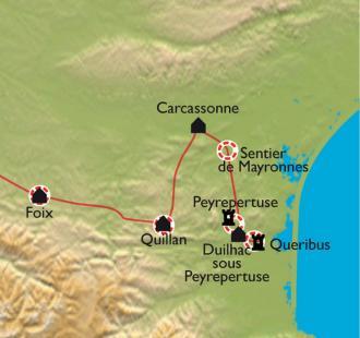 Carte De Carcassonne à Montségur, balades découverte en Pays Cathare