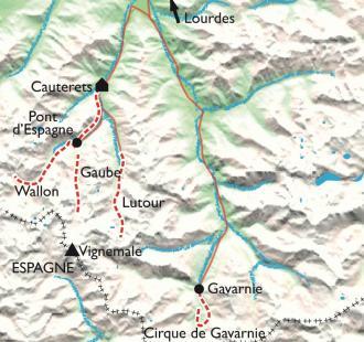 Carte Rando Balnéo Cauterets-Gavarnie, des Bains du Rocher au pied du Vignemale