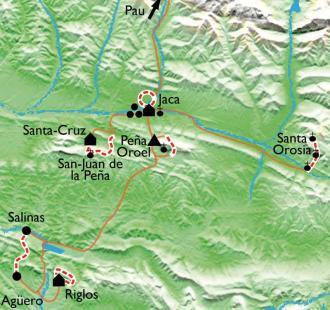 Carte Citadelles de pierre en Aragon, de Jaca à Riglos