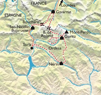 Carte Ordesa Colorado pyrénéen, par la Vire des Fleurs et le Mont Perdu