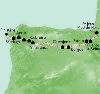 Carte Le Chemin de St Jacques, à pied et en bus, St-Jean-Pied-de-Port à Santiago