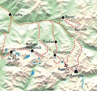 Carte Les Encantats aux mille lacs, Parc National d'Aigües Tortes