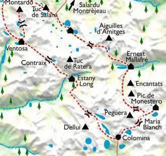 Carte Le tour des Encantats, entre lacs et cimes