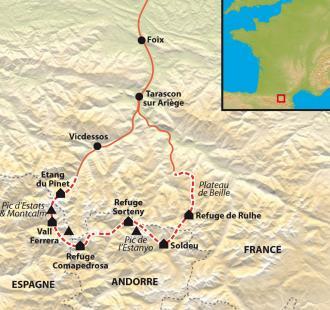 """Carte Ariège, Catalogne, Andorre : le trek des """"Trois Nations"""" et des trois régions"""