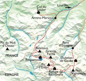 Carte Randos frontalières sur les 3000