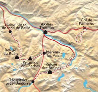 Carte Lacs d'Ariège, entre plateau de Beille et Dent d'Orlu