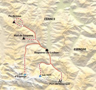 Carte Luchon, randonnée confort dans le royaume des géants