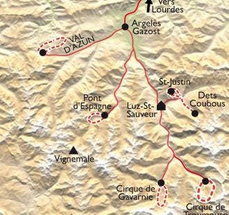 Carte Les vallées de Gavarnie en douceur
