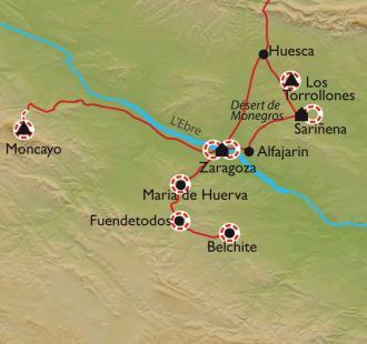"""Carte Du désert de Monegros à Zaragoza, la """"Ville aux trois cultures"""""""
