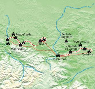 Carte Pays Cathare,  itinérance de Quéribus à Montségur