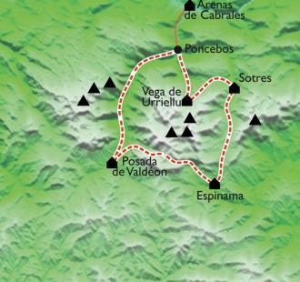 Carte Le Tour des Picos de Europa, montagnes de l'Atlantique