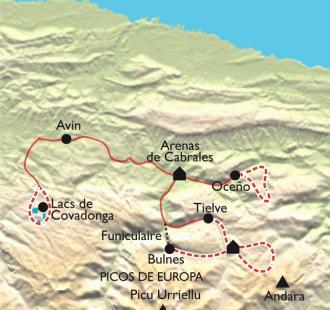 Carte Picos de Europa, découverte confort des Asturies