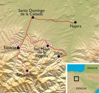 Carte La Rioja, montagnes, vignobles et monastères