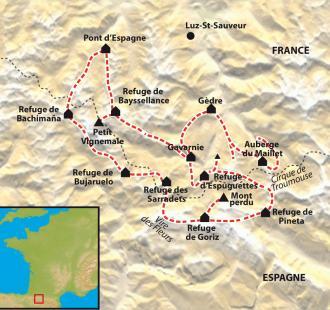 Carte Le grand trek des Pyrénées
