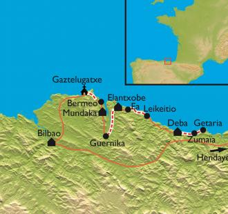 Carte Zumaia-Bilbao, la traversée de la côte basque