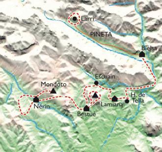 Carte Belvédères du Mont Perdu, du canyon de Pineta à Anisclo