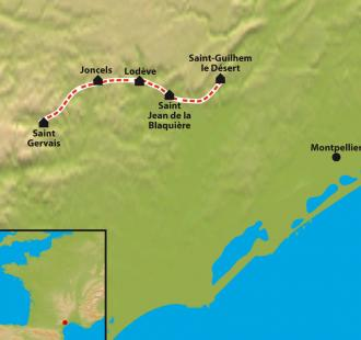 Carte Le Chemin d'Arles, de St.Guilhem le Désert à St.Gervais sur Mare