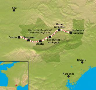 Carte Chemin de Compostelle : Le Chemin d'Arles, St. Gervais sur Mare - Castres
