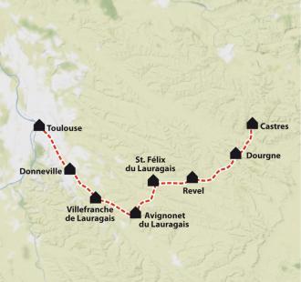 Carte Chemin de Compostelle: Le Chemin d'Arles, Castres - Toulouse