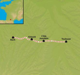 Carte Chemins de Compostelle, Chemin d'Arles, Toulouse - Auch