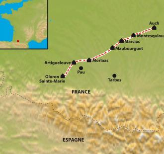 Carte Chemin de Compostelle : Le Chemin d'Arles, Auch- Oloron Sainte Marie