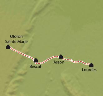Carte Compostelle, Le Chemin d'Arles de Lourdes à Oloron Ste Marie