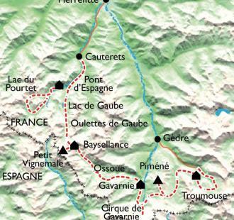 Carte De Cauterets à Gavarnie, traversée au cœur du Parc National