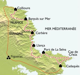 Carte Collioure - Cadaquès, La Côte Vermeille de criques en sommets