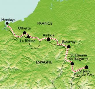 Carte GR10 Hendaye - St Jean Pied de Port (1ère partie)