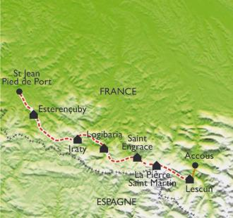 Carte GR10 - St Jean Pied de Port - Lescun (2ème partie)