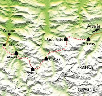 Carte GR10 Lescun - Arrens-Marsous (3ème partie)