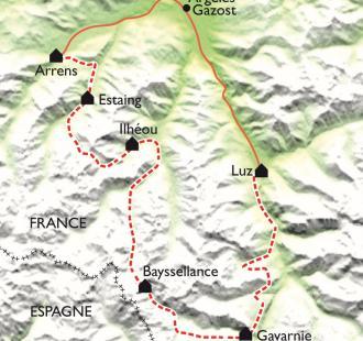 Carte GR10 Arrens-Marsous - Luz-St-Sauveur (4ème partie)